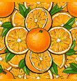 seamless pattern orange fruit with leaves in vector image vector image
