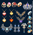 set jewelry made gold and silver vector image vector image