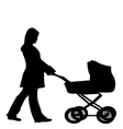 silhouette of a woman pushing a stroller vector image vector image