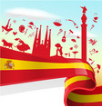 spain element on flag with sky background vector image