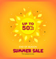 summer sale banner promo badge for seasonal vector image