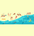 sunbathing playing and swimming people in summer vector image vector image