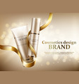 two cosmetic jars with a gold ribbon on a gold bac vector image vector image