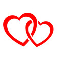 two intertwined hearts icon vector image