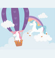 unicorns flying air balloon and clouds sky fantasy vector image