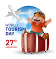world tourism day september 27 holiday - with a vector image
