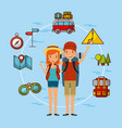 young tourist couple vector image