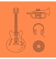 Flat icons of guitar vector image