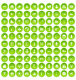 100 toys for kids icons set green circle vector image vector image