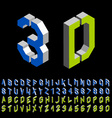 3D stencil angular isometric font alphabet vector image vector image