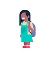 african american girl backpack school children vector image