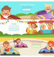 amusement park banners family and happy kids vector image