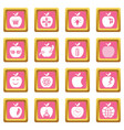 apple logo icons set pink square vector image vector image