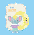 bashower cute elephant half moon cartoon vector image