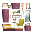 bedroom furniture cartoon set for room interior vector image