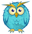 blue owl cartoon isolated on white background vector image
