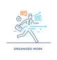 businessman runs forward to success growth charts vector image vector image