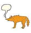 cartoon fox with speech bubble vector image vector image