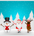 cartoon funny santa claus reindeer and snowman vector image vector image