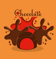 chocolate candy poster dessert cream splash vector image vector image
