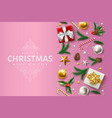 christmas background holly spruce present vector image vector image
