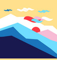 colored silhouettes of mountains and sun vector image vector image