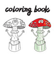 coloring book with amanita muscaria a poisonous vector image