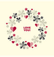 decorative geometric flower and hearts vector image vector image