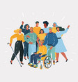 disabled people and they friends vector image vector image