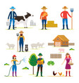 farmer gardener characters with agriculture vector image