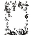 floral set graphic collection with leaves vector image