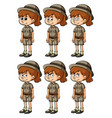 girl in safari outift with different emotions vector image vector image