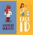 girl uses virtual reality with glasses vector image
