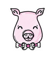 grated cute pig female wild animal vector image vector image