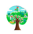 green city tree concept for environment care vector image vector image