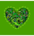 Green painted peacock feathers heart design Love vector image