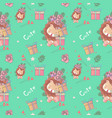 hand drawn happy cute lion with flowers and vector image vector image