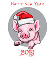 happy new year pig year symbol vintage vector image vector image