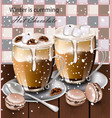 hot chocolate beverage in glasses winter vector image vector image