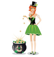 Leprechaun girl with pot of gold2 vector image vector image