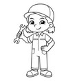 mechanic girl holding wrench ready to fixing bw vector image vector image