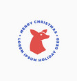 merry christmas abstract reindeer label vector image