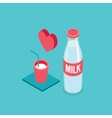 Milk bottle and glass Modern Isometric design vector image