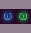 neon icon of blue and green first place vector image