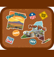 new mexico new york travel stickers vector image vector image
