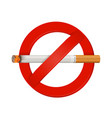 no smoking realistic cigarette sign vector image