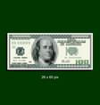 Pixel art 100 dollar bank note vector image