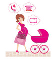 pregnant woman pushing a stroller and thinks of vector image