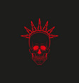 red skull with barbed wire on vector image