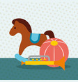 rocking horse trumpet and plastic ball toys vector image